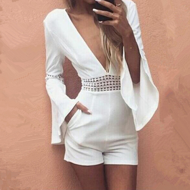 Women Summer White Short Sexy Rompers Jumpsuit Deep V Neck Long Flare Sleeve Beach Party Playsuits Waist Crochet Lace Overalls
