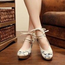 Кран для беременных женская обувь Повседневная Slip-On старинные вышитые Флора Свадебные Лоферы китайский Стиль национальная Пекинская Обувь