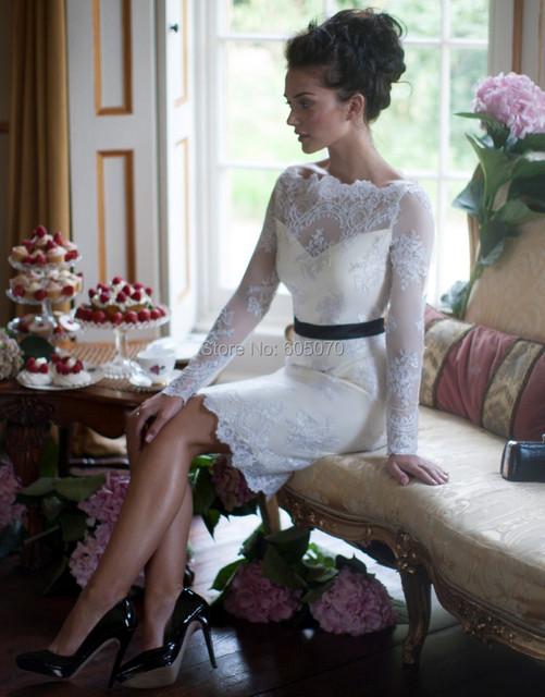 Hermosa cóctel de encaje corto vestido del partido vestido de fiesta con mangas y sash