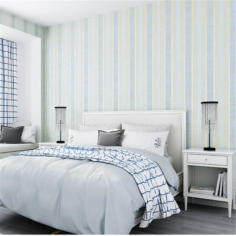 beibehang Modern simple wallpaper living room bedroom film and television wallpaper personality stripe non-woven plain wallpaper beibehang wallpaper simple and lovely
