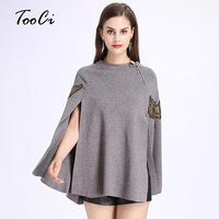 2017 Autumn Winter Fashion Ponchos And Capes Eagle Embroidery Zipper Cloak Pullovers Cloak Knitted Wool Sweater