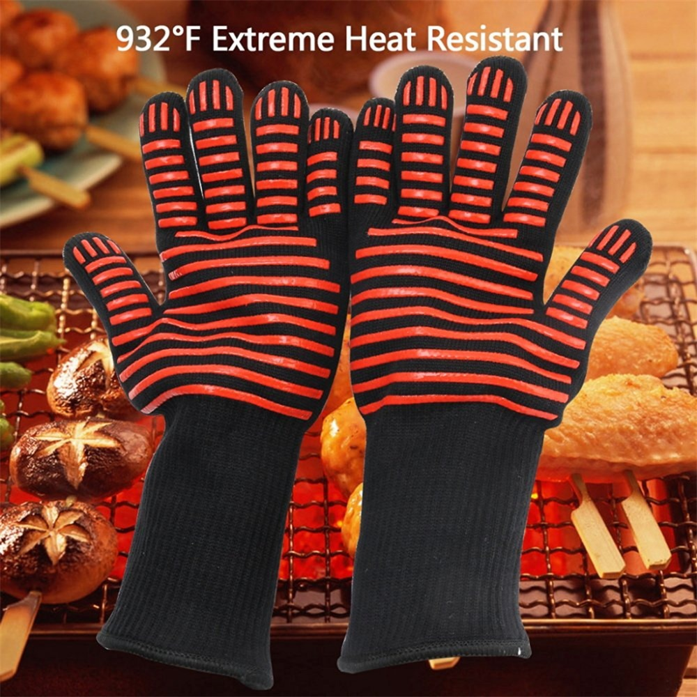 Antiskid Insulated Gloves The Oven Mitt High Temperature Heat Resistant Gloves Microwave Oven Gloves Safety for Kitchen Cooking oven mitt flame resistant 100% cotton treated fabric each