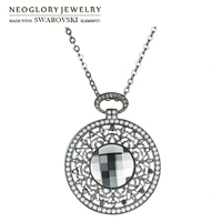 Neoglory MADE WITH SWAROVSKI ELEMENTS Crystal Rhinestone Long Charm Necklace Vintage Geometric Round Design For Lady