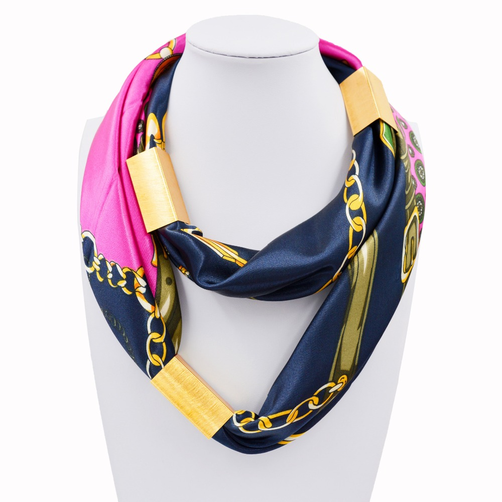 2016 New Arrival Silk Necklace Long Scarf Necklace Solid Colors Gold-plated Decorative Soft Scarves Accessories Trendy Women