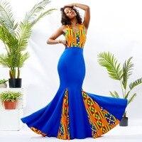 African Dresses For Women Ankara Wax Fabric Printing Sleeveless Maxi Dress Black stretch fabric splicing dress