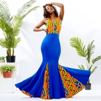 African Dresses For Women Ankara Wax Fabric Printing Sleeveless Maxi Dress Black stretch fabric splicing dress