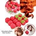 24Pcs Cute Magic Strawberry Foam Balls Soft Sponge Hair Curlers Rollers Bun Round DIY Hair Curling Tools