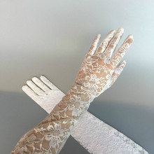 Ретро длинные кружевные перчатки тонкие солнцезащитные фото годовое черное Формальное для коктейльной вечеринки перчатки Аксессуары для декора
