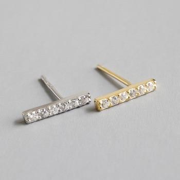 1 par de auténticos pendientes de plata de ley 925 con circonita cúbica AAAA + barra recta geométrica de la suerte TLE524