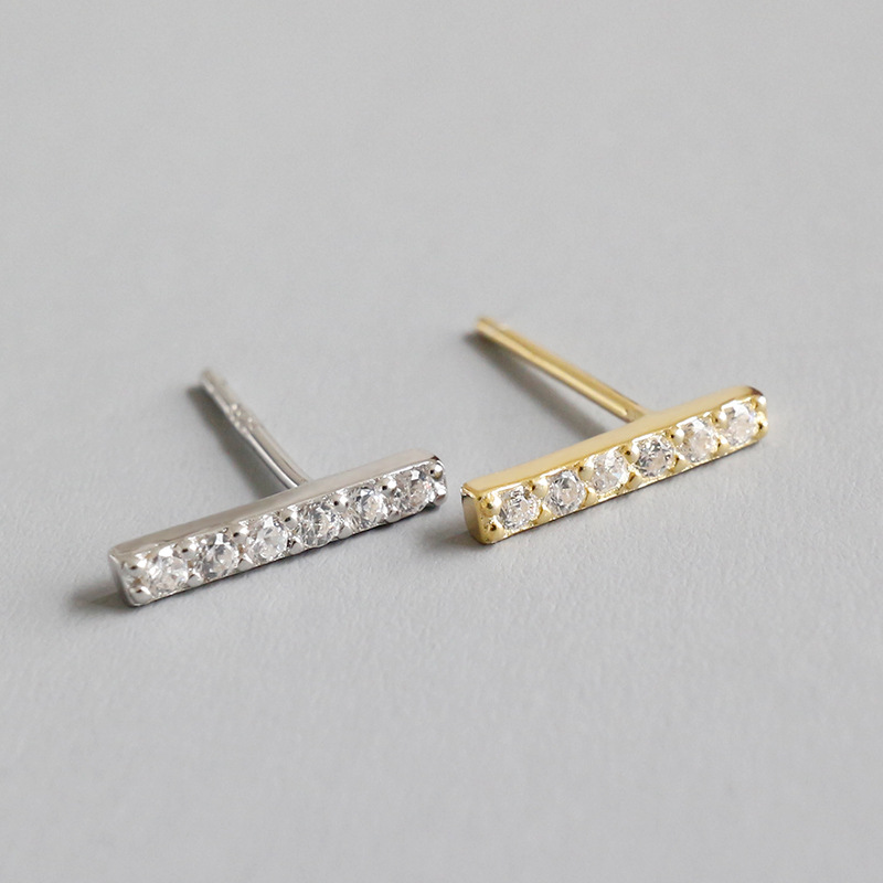 1PAIR Authentic 925 Sterling silver Micro Pave CZ Zirconia AAAA+ Geometric Lucky Straight Bar Stud earrings jEWELRY TLE524