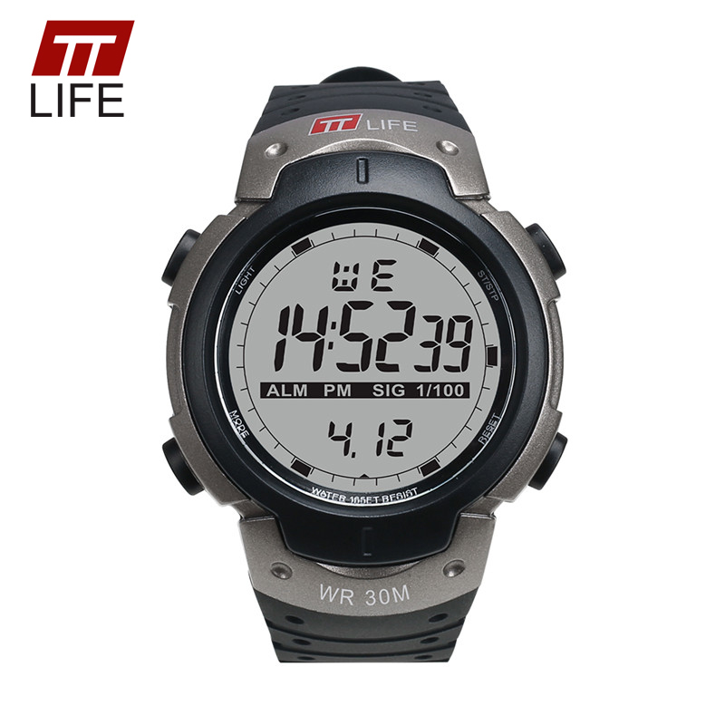 TTLIFE Sports Watch Men Electronic Water Resistant 30M Wristwatch PU Band LED Military Chronograph Watch Men TS07 With Metal Box