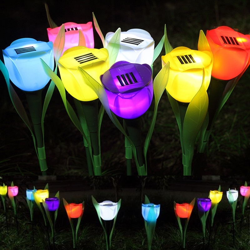 1 Piece LED Tulip Flower Shape Lamp Outdoor Yard Garden Path Lawn Decor Solar Powered LED Lights