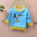 Boys girls Winter velvet Warm long-sleeved T shirt Sweatshirts for Kids cute Cartoon Clothes pattern Children Jacket Tops