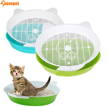 VOVOPET Cat Bedpans Toilet Round Semi-closed Double Layer Sifting  Poo Small Animal Kitten Potty Indoor Home Cats Litter Box
