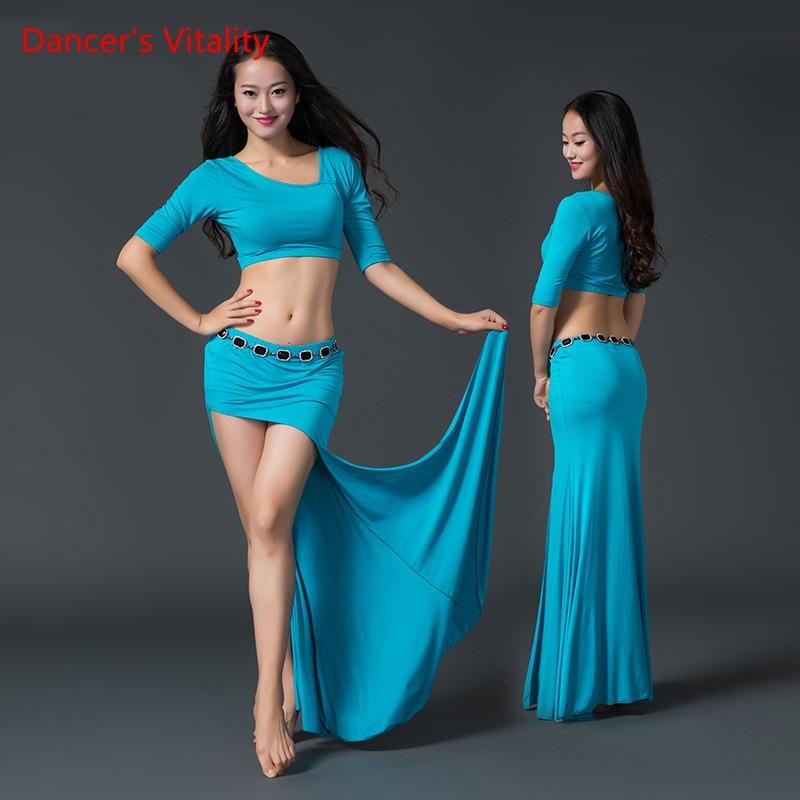 2017 performance women Modal Belly Dance Costume Top Long Skirt Dancer Practice Clothes White Blue S L 2 Piece Set