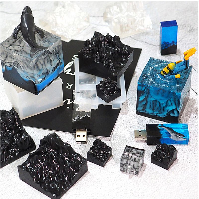Snow Mountain Mold Silicone Resin Mold DIY Micro Landscape USB Drive Resin Molds