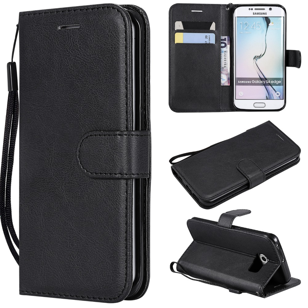 For <font><b>Samsung</b></font> Galaxy S7 S6 Edge Plus S5 <font><b>S4</b></font> S3 S IV III I9500 I9300 Flip <font><b>Case</b></font> Luxury <font><b>Leather</b></font> Wallet Solid Color PU Phone Cover image
