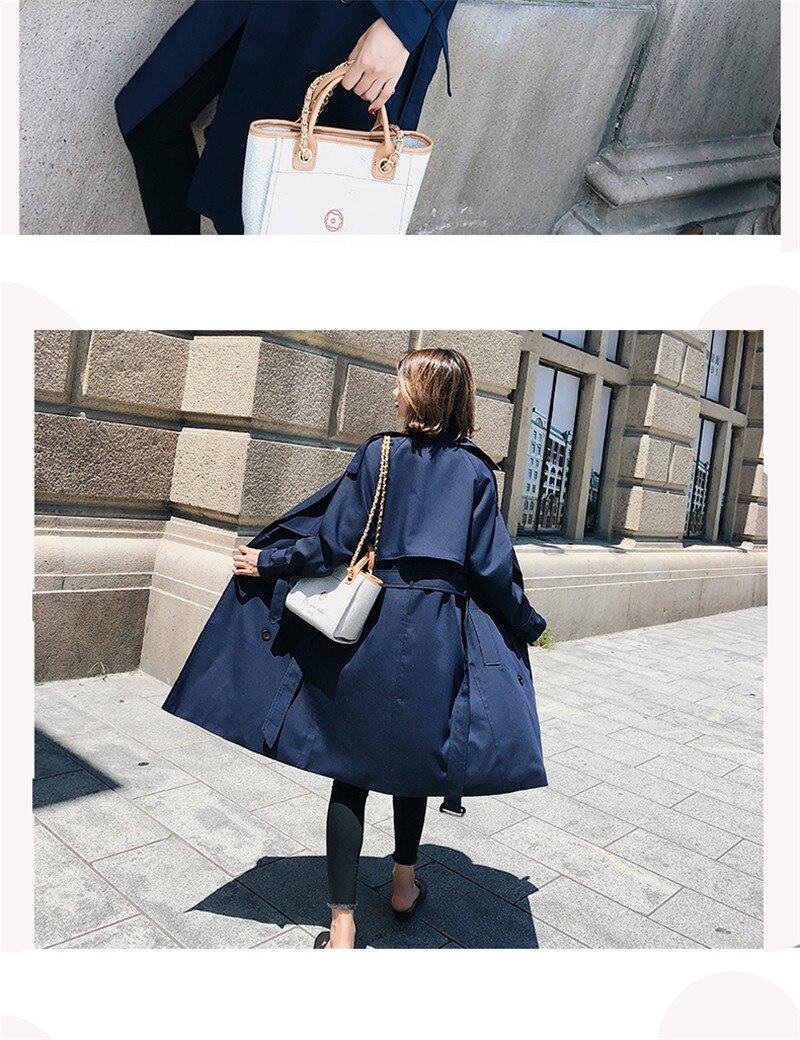 Windbreaker Female 19 Spring Autumn new Korean leisure chic loose ladies harbor wind Long Trench Coat for women X509 blue 12