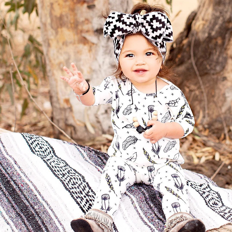 Cute Kids Baby Girl Boys Long Sleeve Feather Romper Clothing