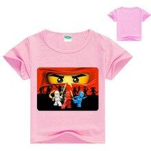 лучшая цена 2019 Summer Kids Boys T-shirt Ninjago T Shirts Children Clothing Cotton Top Tees Boys Girls Kids Costume Boys Clothes 3-14y
