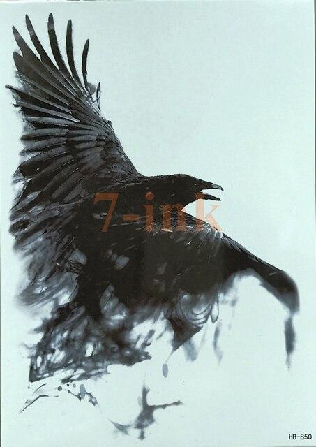190a274c0d5f3 Crow Raven auto arm owl devil skull color tiger water Temporary Tattoo body  art Fake Tattoo