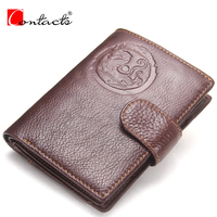 CONTACT S Genuine Cowhide Leather Men Wallet Passport Wallets Fashion Design Brand Wallet Card Holder With