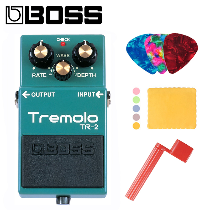 Boss TR 2 Audio Vintage Tremolo Pedal with Rate Depth and Wave Controls Bundle with Picks