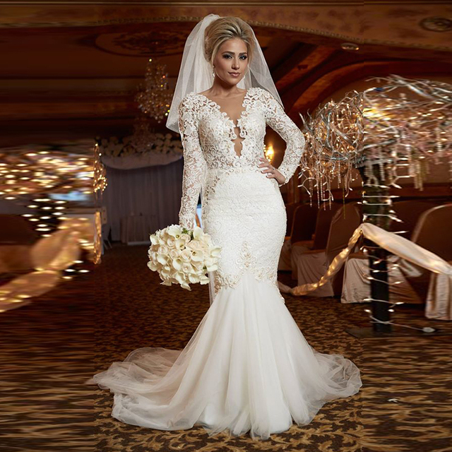New Designer Long Sleeve Lace Mermaid Wedding Dress 2016 Gowns Court Train Dresses