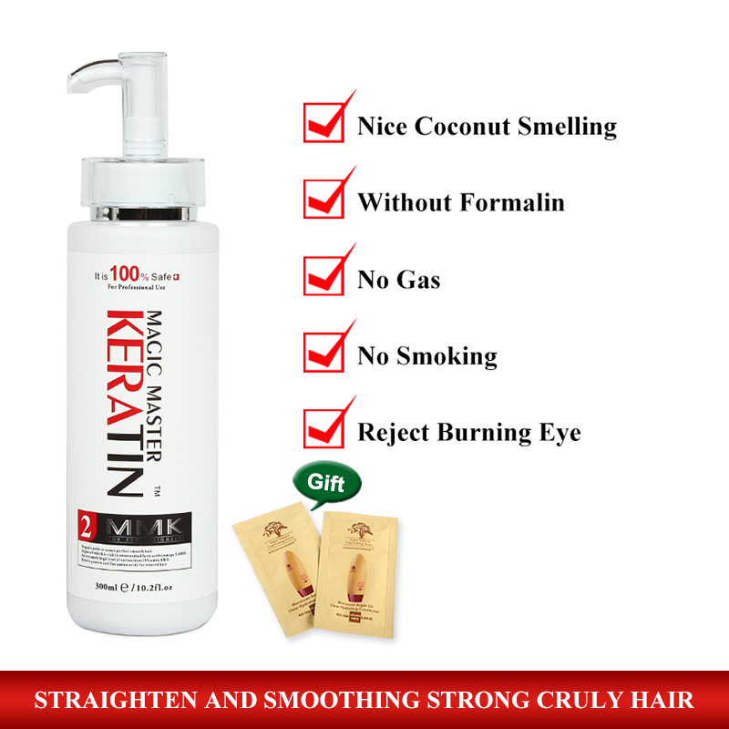 Hot Useful 300ML Coconut Smelling Without Formalin Magic Master Keratin Treatment Straighten Damaged Frizzy Hair Free Shipping