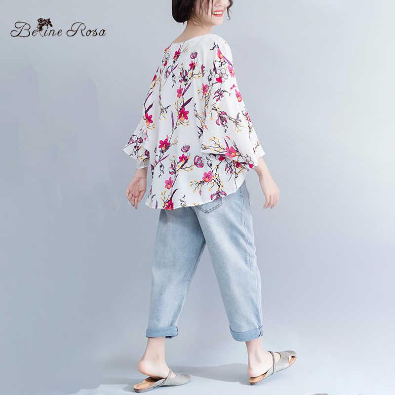 ... BelineRosa Casual Plus Size Women Clothing 2019 Summer Style Flower Printing  Women Tunic Sweet V Neck ... 19bea375a2c6