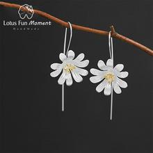 Lotus Fun Moment prawdziwe 925 Sterling Silver kreatywny projektant biżuteria ładne kwitnące wiszące kolczyki z motywem kwiatowym dla kobiet tanie tanio about 7 29g NONE 925 sterling CN (pochodzenie) Na imprezę LFJB0121 Brak kolczyki wiszące Kobiety GZ2106012425 PLANT CCGTC