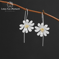 Lotus Fun Moment Real 925 Sterling Silver Creative Designer Fashion Jewelry Nice Blooming Flowers Dangle Earrings for Women