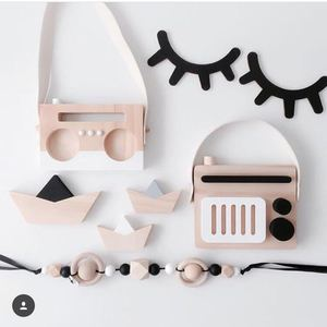 Nordic Hanging Wooden Radio Camera Toys