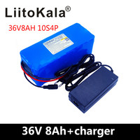 LiitoKala 36V battery 500W 18650 lithium battery pack 36V 8AH With bms Electric bike battery with PVC case for electric bicycle