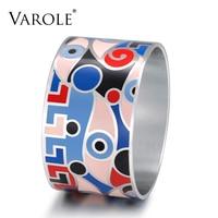 VAROLE Enamel Wide Bangle Round Metal Charm Bracelet Stainless steel Big Cuff Bangles for Women Bracelets Jewelry Pulseiras