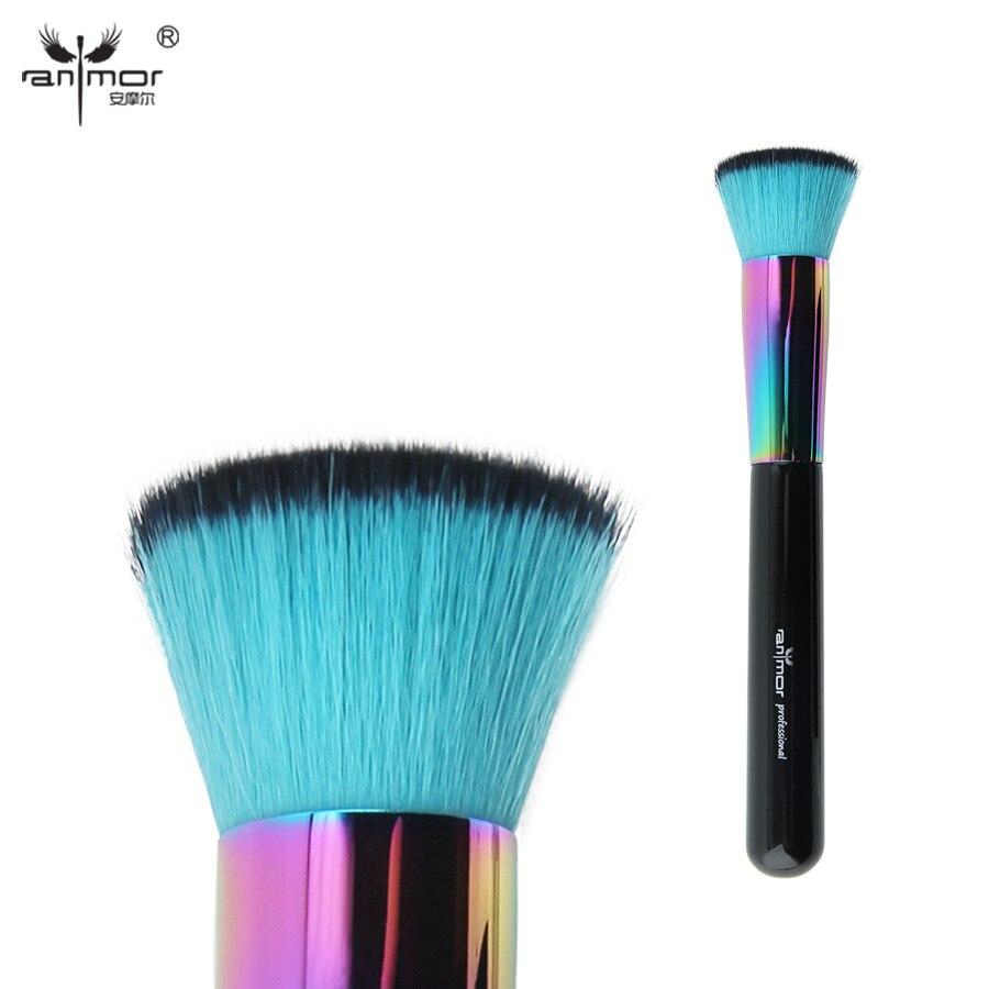 Anmor colorido flat kabuki pincel de maquillaje profesional del pelo sintético p