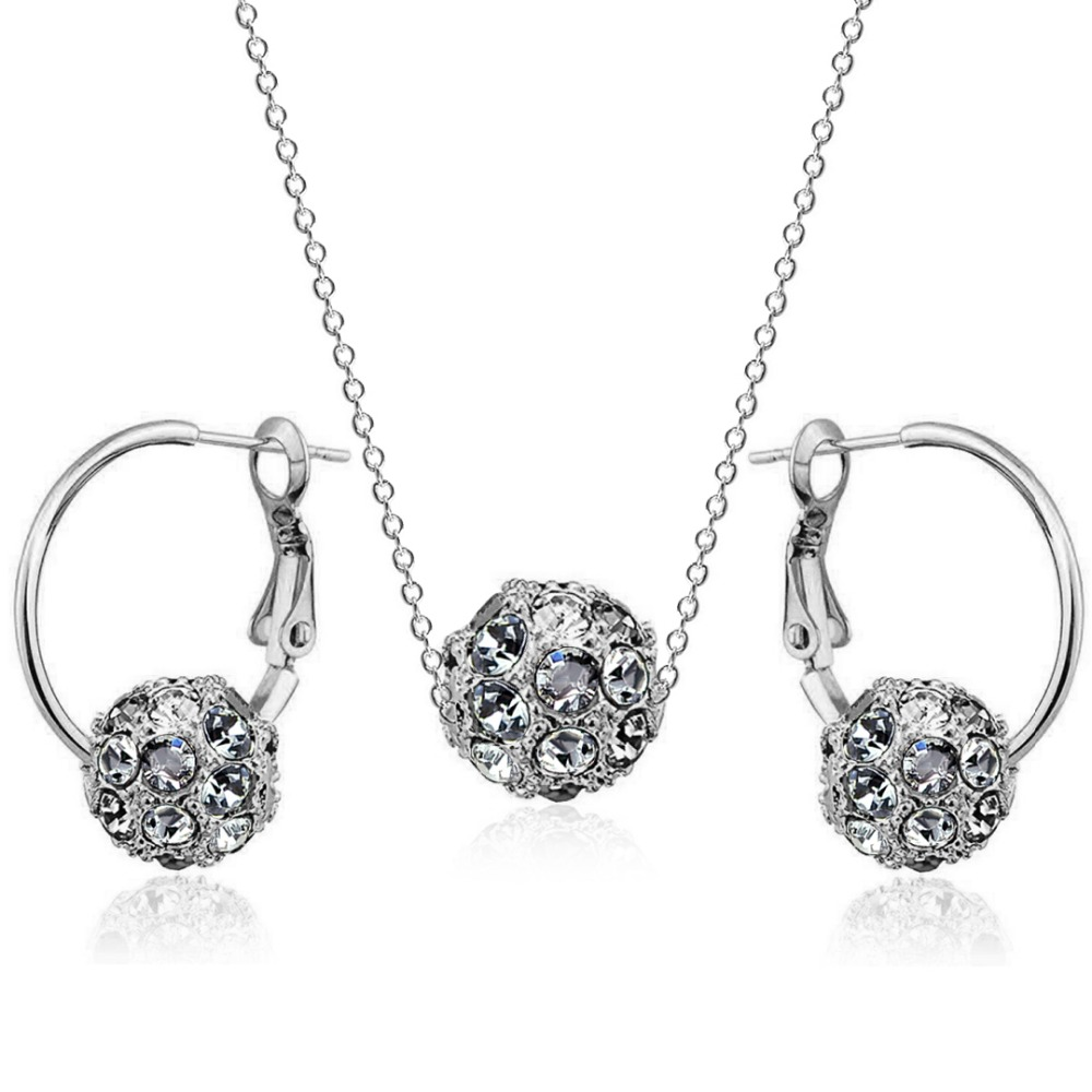18Bre romantic wedding Bijoux Golden colorful Irregular crystal ball big Ear ring earrings Set for women bride fashion Jewelry 1