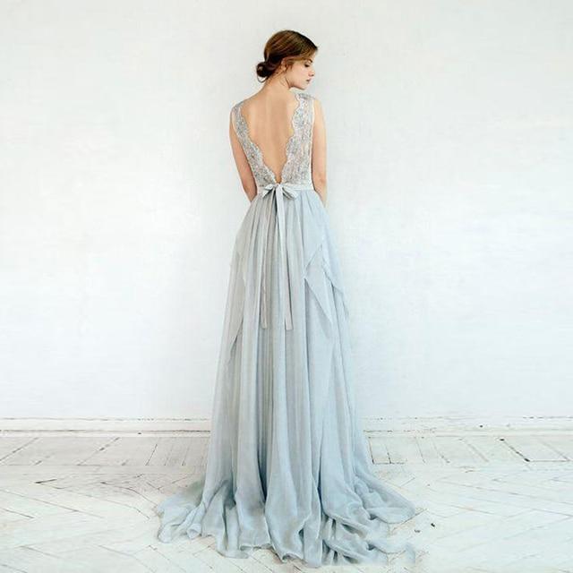 2016 beautiful silver grey bohemian wedding dresses sexy illusion lace embroidery beaded chiffon backless romantic bridal