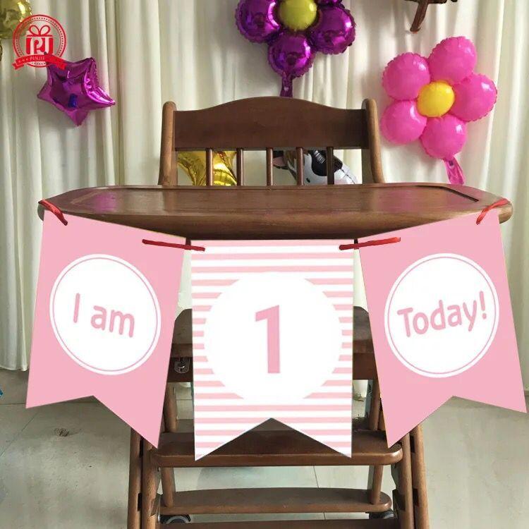 Boy Girl First Birthday Cardboard blue pink High Chair Flag Banner Baby One Year Old Birthday Hanging Decoration