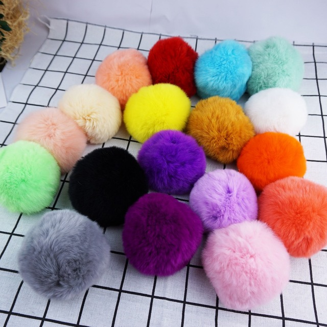 Real Fur Ball Keychain Pompom Fur Key chain on The Bag Cute Fluffy Rex Rabbit Pompom Pendant Accessories DIY 8cm wholesale