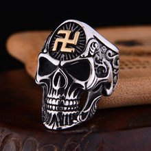 Punk Rock Men Stainless Steel Skull Ring Gothic Buddhist Word Swastika Skeleton Ring Vintage Jewelry(China)