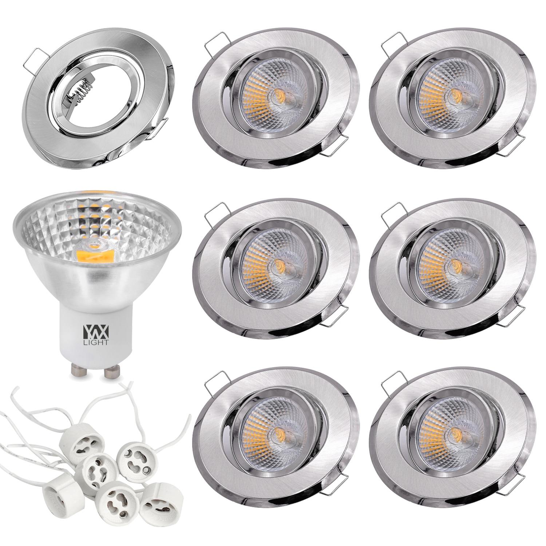 YWXLIGHT 6 pièces 5W tasse à lumière LED Spot ÉPI 500 lm GU10 Encastré Plafonnier Cadre De Montage Kit AC 110V AC 220V
