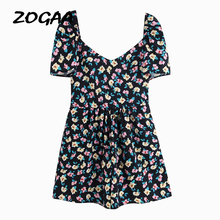 ZOGAA Women Boho Floral Print Summer Rompers Elegant Short Sleeve Jumpsuit Wrapped Lace-up Beach Playsuit Female Party