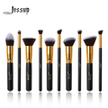 Jessup 10 pcs professional make up brushes set fundação kabuki pincel de blush em pó sobrancelha eyeshadow blending brushes preto/ouro