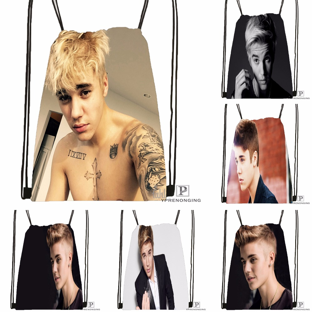 Custom Justin Bieber  Drawstring Backpack Bag Cute Daypack Kids Satchel (Black Back) 31x40cm#180531-02-33