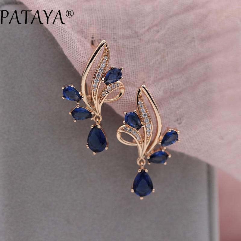 PATAYA New Arrivals Dark Blue Water Drop Natural Zircon Dangle Earrings Women 585 Rose Gold Wedding Party Trendy Jewelry 2 Color