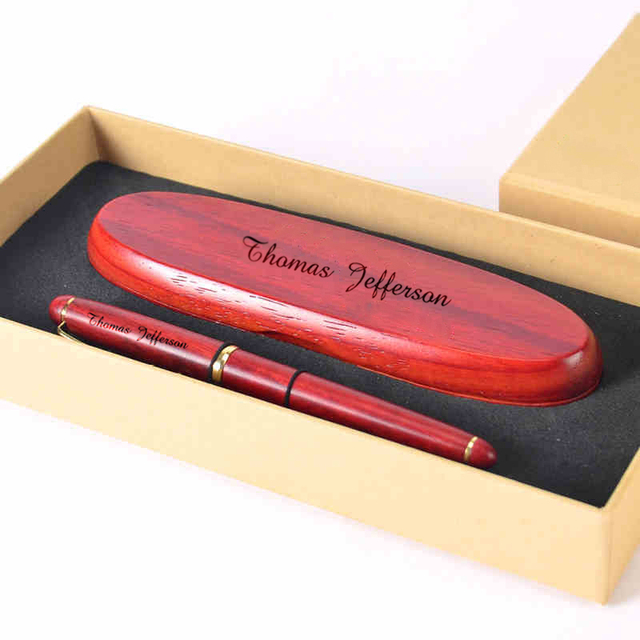 Custom lettering handmade redwood get pen set with redwood gift box personalized engraved gift Creative crafts Christmas gift