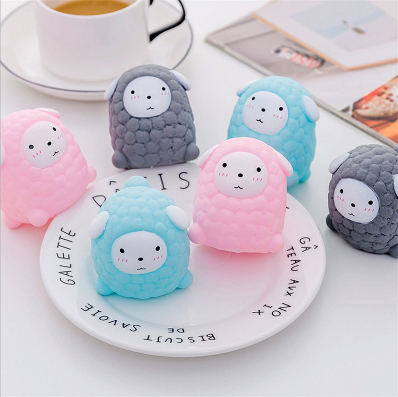 3Pcs/Set Cute Sheep Stress Relief Toy Squishy Squeeze Sounding Baby Bath Cartoon Soft Rubber Kid Play Water Toddler Toys Gift