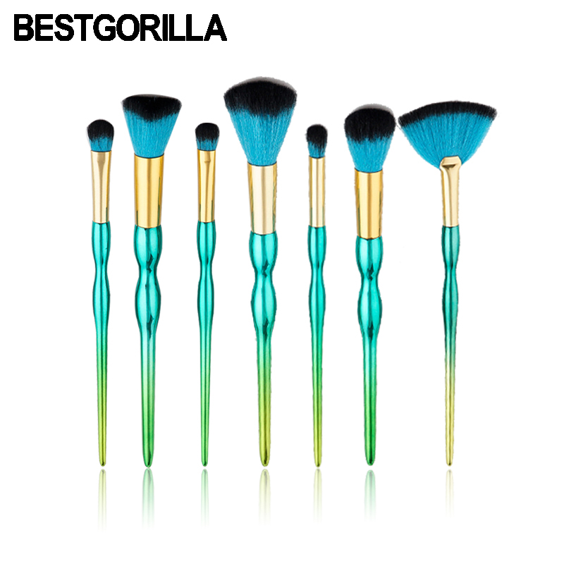 BESTGORILLA Professional 7pcs/Set Dark green gourd brush Makeup Brush Makeup Tools Gradient handle eye shadow brush beauty shadow heir dark swan 4