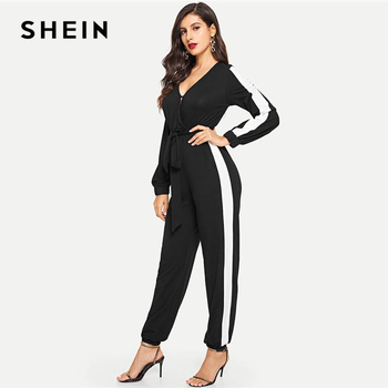 f3911f03716 SHEIN Black Deep V Neck Self Belted Colorblock Jumpsuit Elegant Tapered  Carrot Button Maxi Jumpsuits Women Autumn Jumpsuit